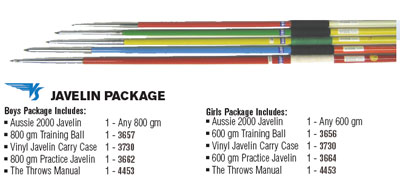 Javelin training equipment package